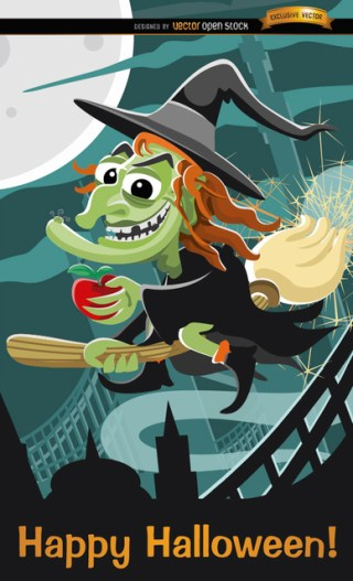 Evil Witch Flying Halloween Poster Free Vector
