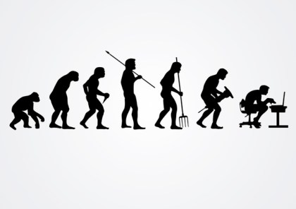 Evolution Of Human Work Silhouettes Free Vector