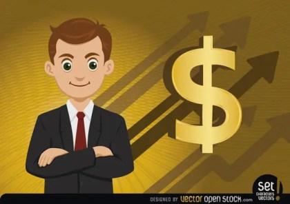 Executive Money Growing Arrows Free Vector