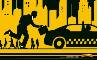 Executive Running Taxi In The City Free Vector