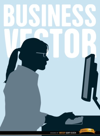 Executive Woman Working Computer Free Vector