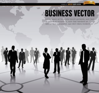 Executive Workers World Map Background Free Vector