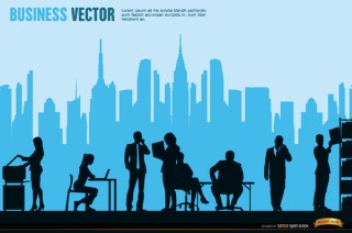 Executives Working City Skyline Background Free Vector