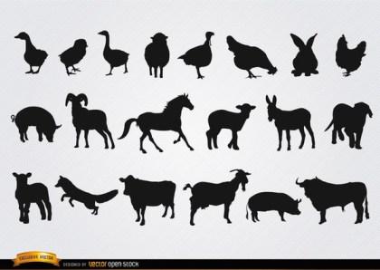Farm Animals Silhouettes Set Free Vector