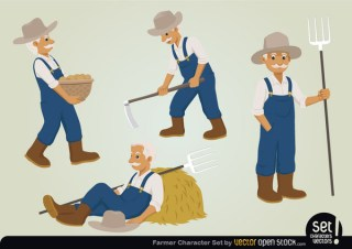 Farmer Character Set Free Vector