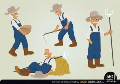 Farmer Character Set Free Vector