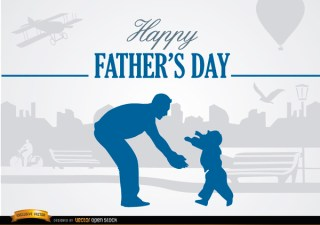 Father and Son Love In Park Free Vector