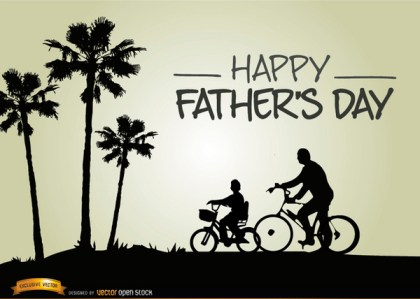 Fathers Day Riding Bike with Son Free Vector
