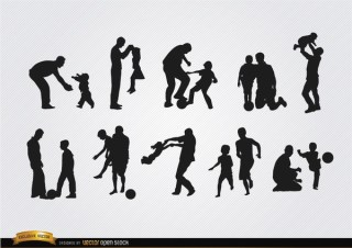 Fathers Playing with Sons Silhouettes Free Vector