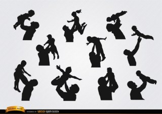 Fathers Raising Children Silhouettes Free Vector
