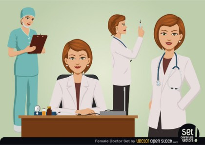 Female Doctor Set Free Vector
