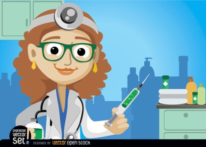 Female Doctor with Medicine Injection Free Vector