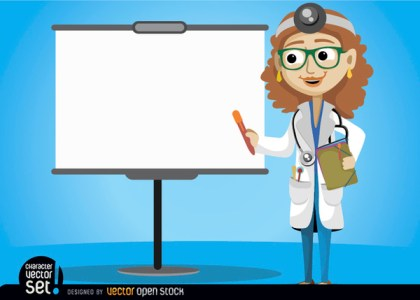 Female Doctor with Presentation Screen Free Vector