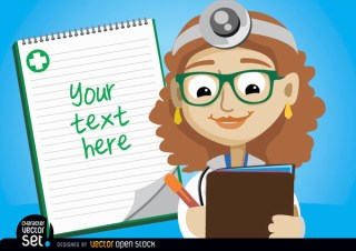 Female Doctor Writing Medical Prescription Free Vector