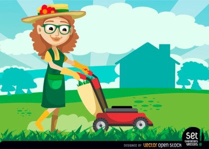 Female Gardener with Grass Cutter Machine Free Vector