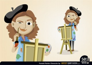 Female Painter Character Free Vector