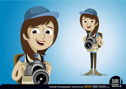Female Photographer Character Free Vector