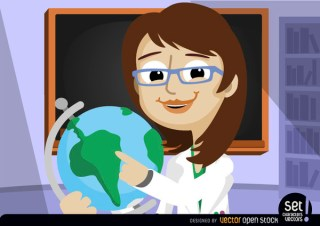 Female Professor Pointing At World Globe Free Vector