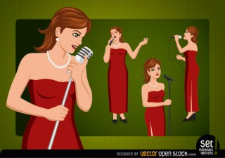 Female Singer Cartoon Character Free Vector