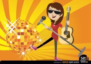 Female Singer Guitarist with Disco Ball Free Vector