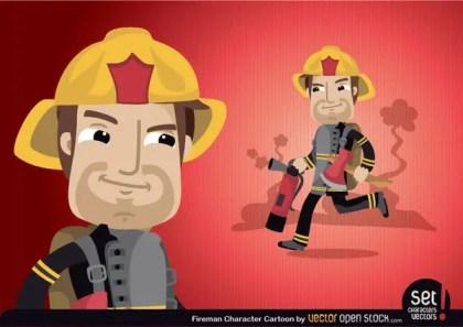 Fireman Cartoon Character Free Vector