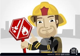 Fireman Pointing Burning Risk Sign Free Vector