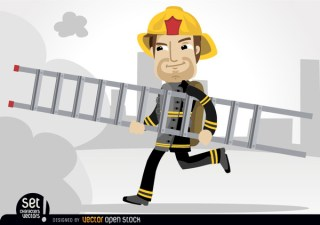 Fireman Running with Rescue Ladder Free Vector