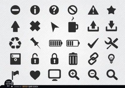 Flat Web Icon Set Free Vector