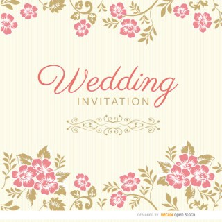 Floral Leaves Wedding Invitation Sleeve Free Vector