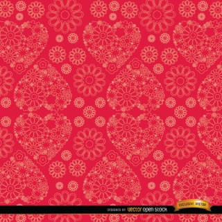 Flowers and Hearts Red Pattern Background Free Vector