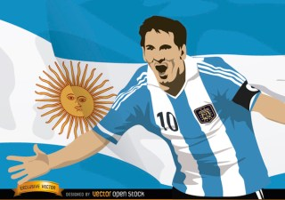 Football Player Messi with Argentina Flag Free Vector
