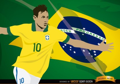 Football Player Neymar with Brazil Flag Free Vector