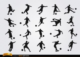 Football Players Silhouettes Free Vector