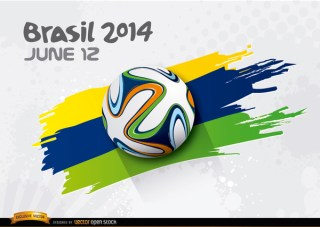 Football Rolling Over Brasil 2014 Colors Free Vector