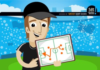 Football Trainer Shows Strategy on Board Free Vector