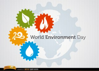 Four Elements Gears World Environment Day Free Vector