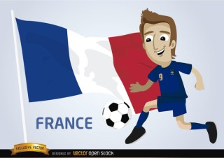France Football Player with Flag Free Vector
