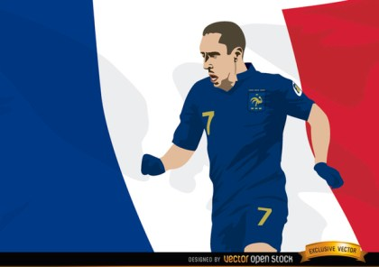 France Player Franck Ribery with Flag Free Vector
