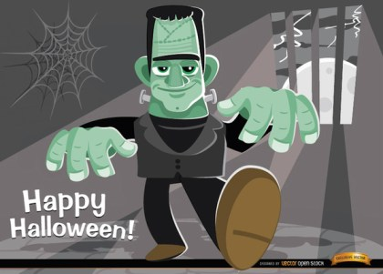 Frankensteins Monster Halloween Background Free Vector