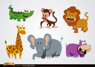 Funny Cartoons Wild Animals Free Vector