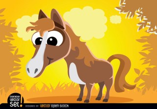 Funny Horse Cartoon Animal Free Vector