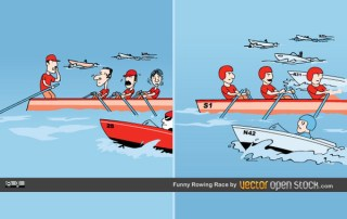 Funny Rowing Race Free Vector