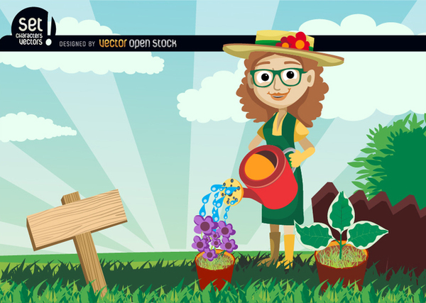 Gardener Women Pouring Water to The Plants Free Vector