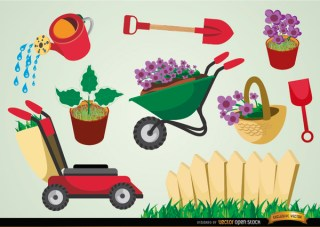 Gardening Tools and Plants Set Free Vector