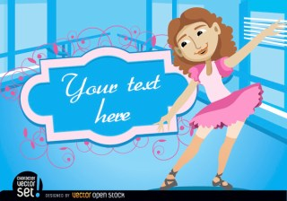 Girl In Ballet Practice with Frame Text Free Vector