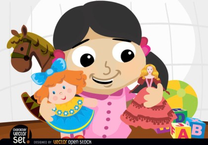 Girl Playing with Dolls and Toys Free Vector