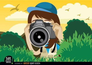 Girl Shooting with Camera Free Vector