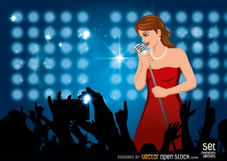 Girl Singing In A Concert Free Vector