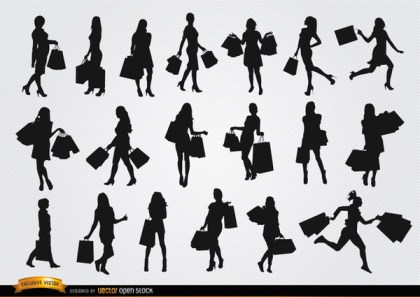 Girls with Shopping Bags Silhouettes Free Vector