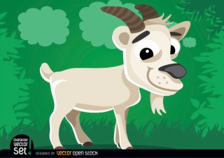 Goat on The Grass Cartoon Animal Free Vector